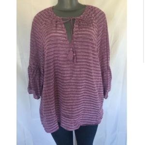 Kensie Bell Sleeve Peasant Top Sheer NWT XL